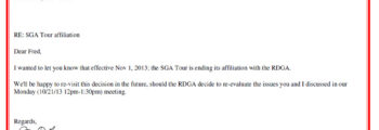 2013 – Ending our affiliation w/RDGA [335 Members]